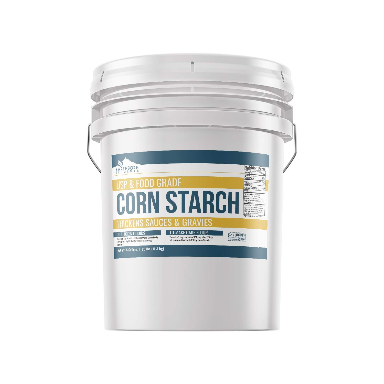 Corn Starch (5 Gallon (25 lb.)) by Earthborn Elements, Resealable Bucket, Thickener For Sauces, Soup, & Gravy, Highest Quality, All-Natural, Kosher, Food Grade & USP Grade, Vegan, Gluten-Free by Earthborn Elements