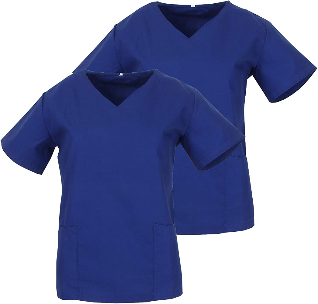 MISEMIYA - Pack*2-Camisa Camisetas Mujer Medica Mangas Cortas Uniforme Laboral Sanitarios Hospital Limpieza Ref.Q818 - XS, Azulina: Amazon.es: Ropa y accesorios