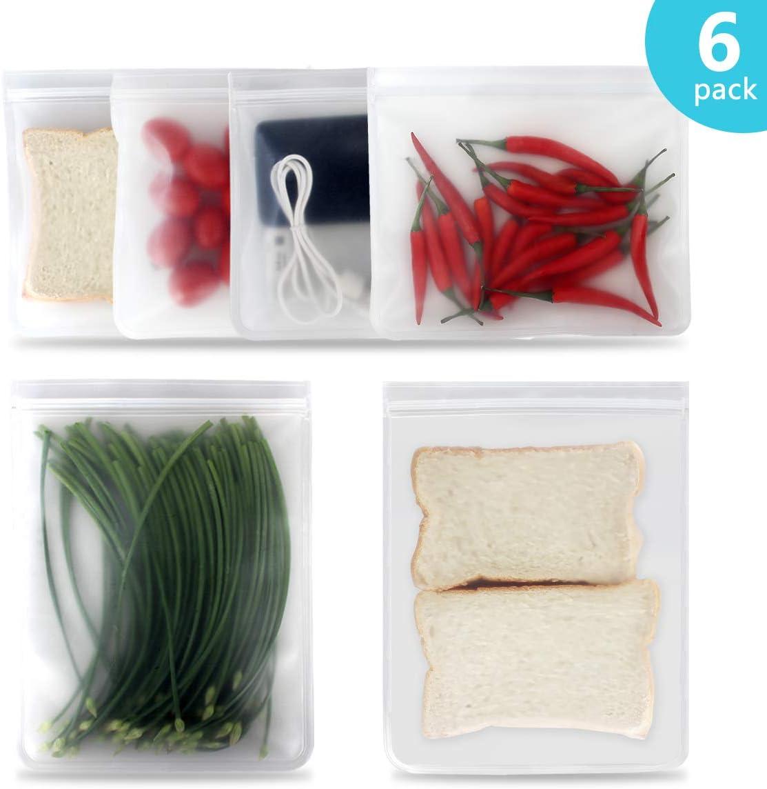 Reusable Sandwich Bags Snack Storage Bags Reusable Food Freezer Plastic Bags 6 Pack