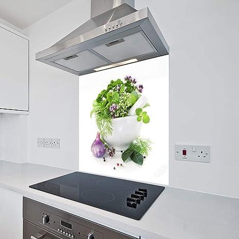 70cm Wide x 75cm High Lime Floral White Flower Glass Splashback