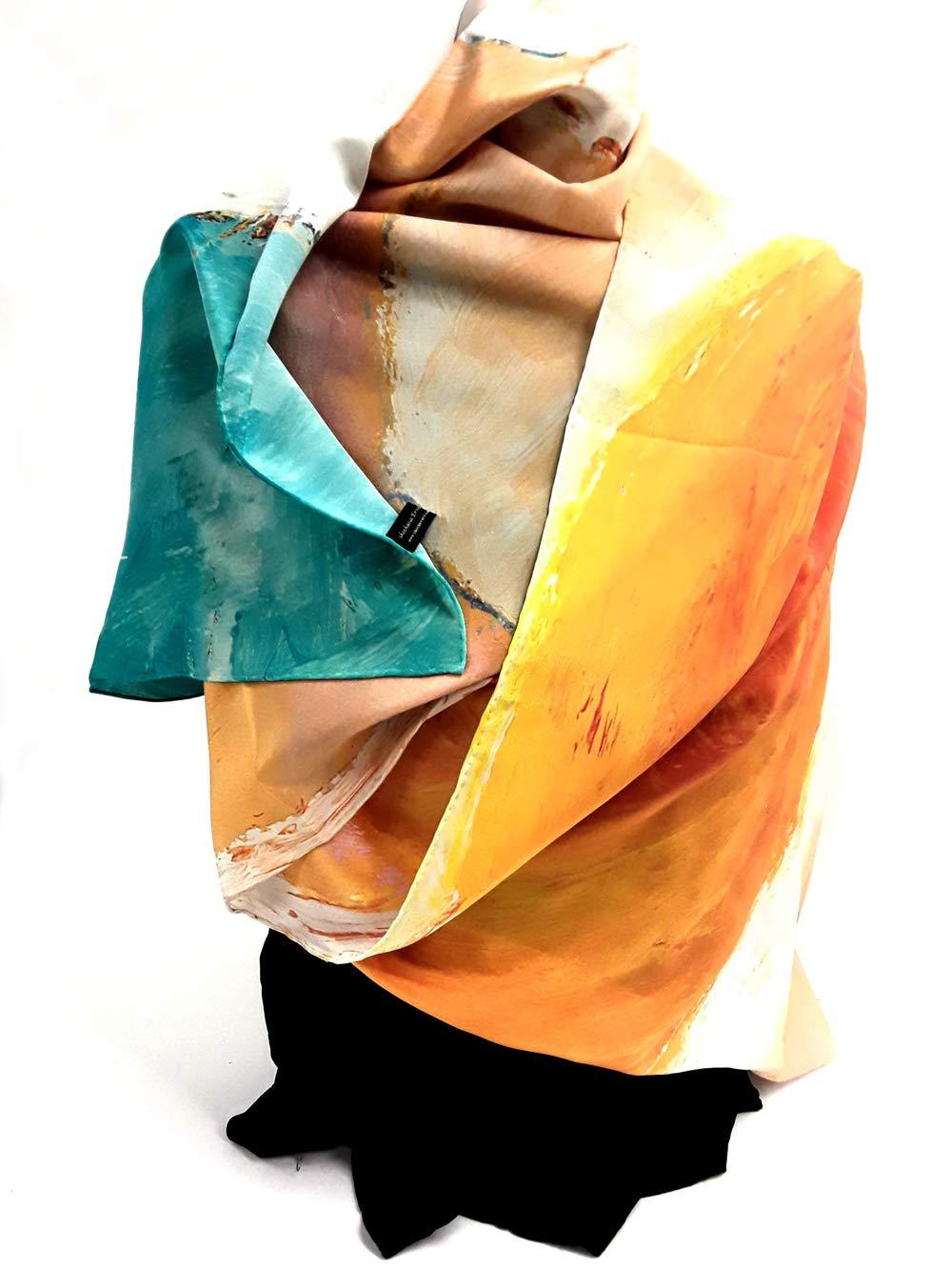 Designer silk scarves - Highest Quality 100% Silk scarf - Headscarf - Designer elegant headwrap - Silk infinity scarf - Crepe de Chine silk -''Sunny'' By Shoshana Ernst, artist and designer