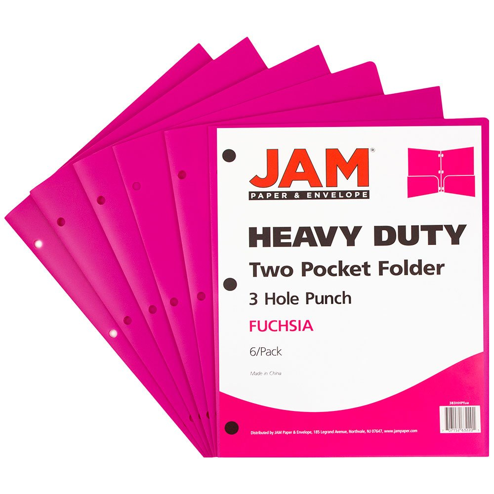 JAM PAPER Heavy Duty Plastic 3 Hole Punch Folders with Pockets - Fuchsia Hot Pink - 6/pack