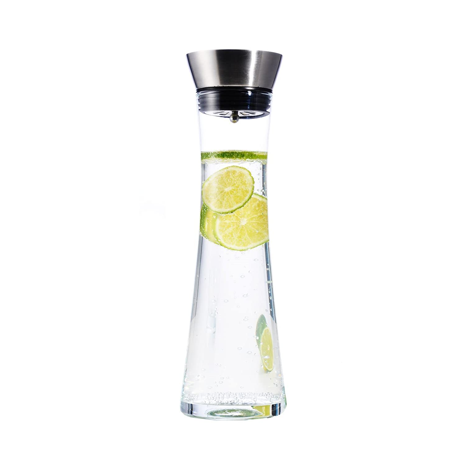 1 Ltr Glass Water Decanter Wine Juice Cold Drinks Carafe Stainless Steel Jug Haushalt International