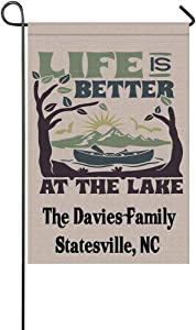 """MyPhotoSwimsuits Personalized Camper Garden Flags for Outdoor Custom Camping Yard House Banner Home Lawn Welcome Decoration 12.5"""" X 18"""" Double Sided Life is Better at The Lake"""