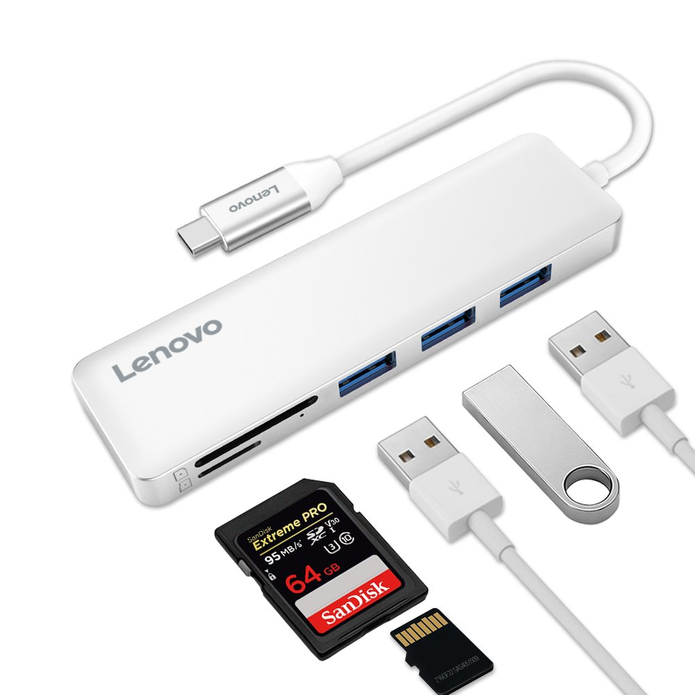 Lenovo USB C Hub, USB Type-C Adapter with 3 USB 3.0 Ports and SD/TF Card Reader, for MacBook Pro, Chromebook Pixel, and More