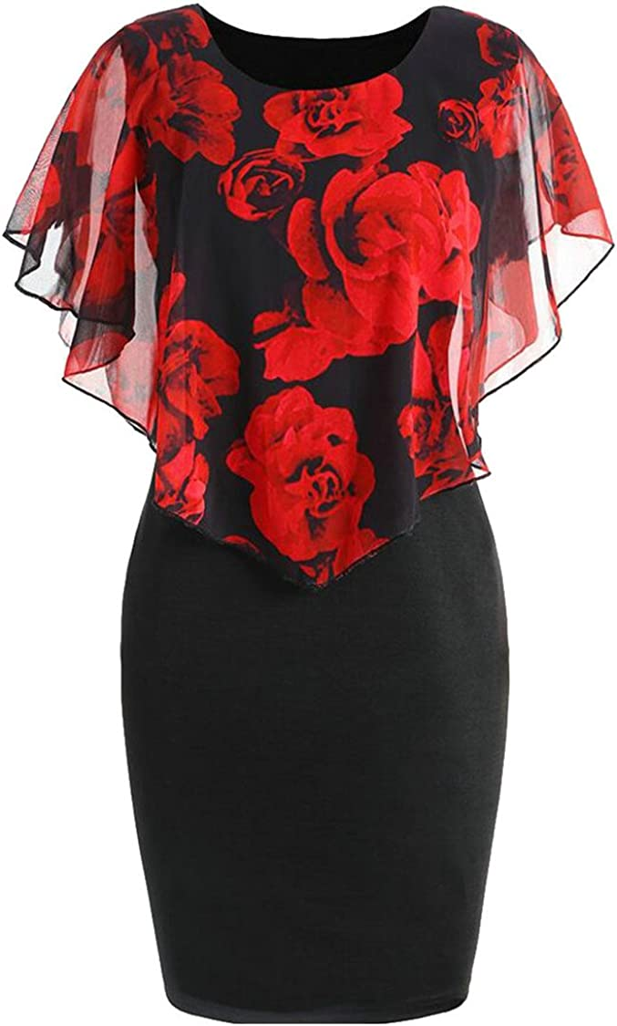 xiaohuoban Womens Scoop Neck Stitching Collision Color Printed Package Hip Ruffled Dress