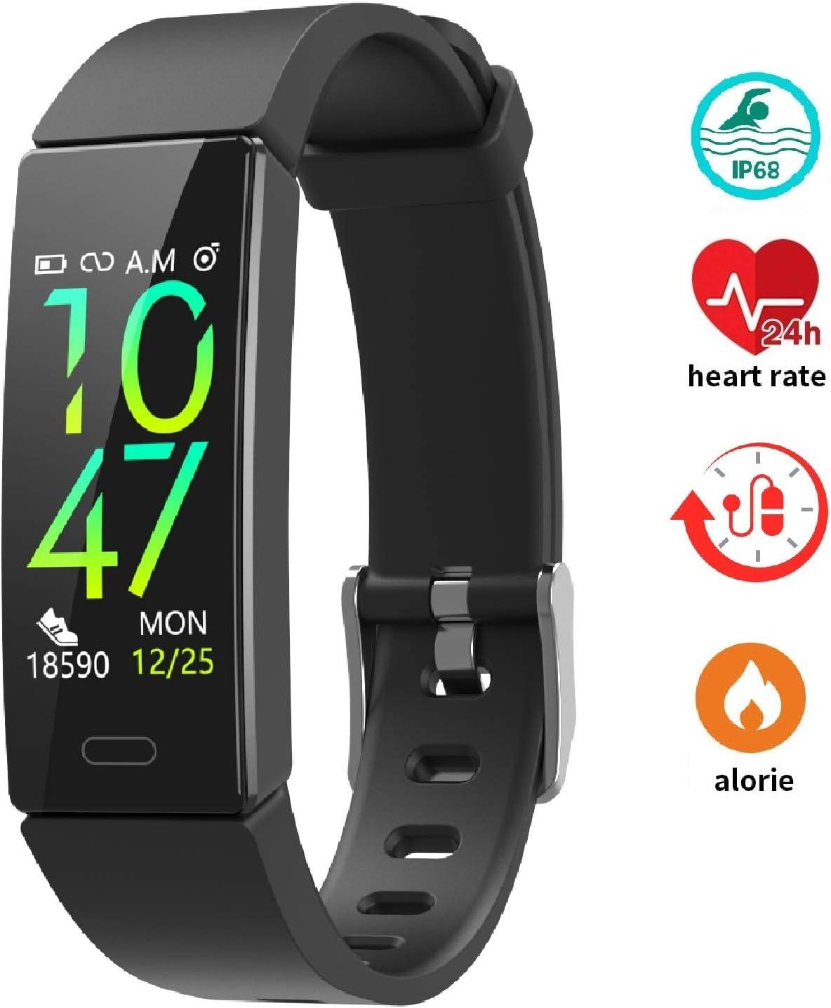 Pulsera de Actividad Reloj Inteligente para Hombre y Mujer, IP68 Impermeable Reloj Deportivo con Rtmo Cardíaco, Presión Sanguínea, Sueño Monitor, cronómetro,Contador y Calorías para Android y iOS