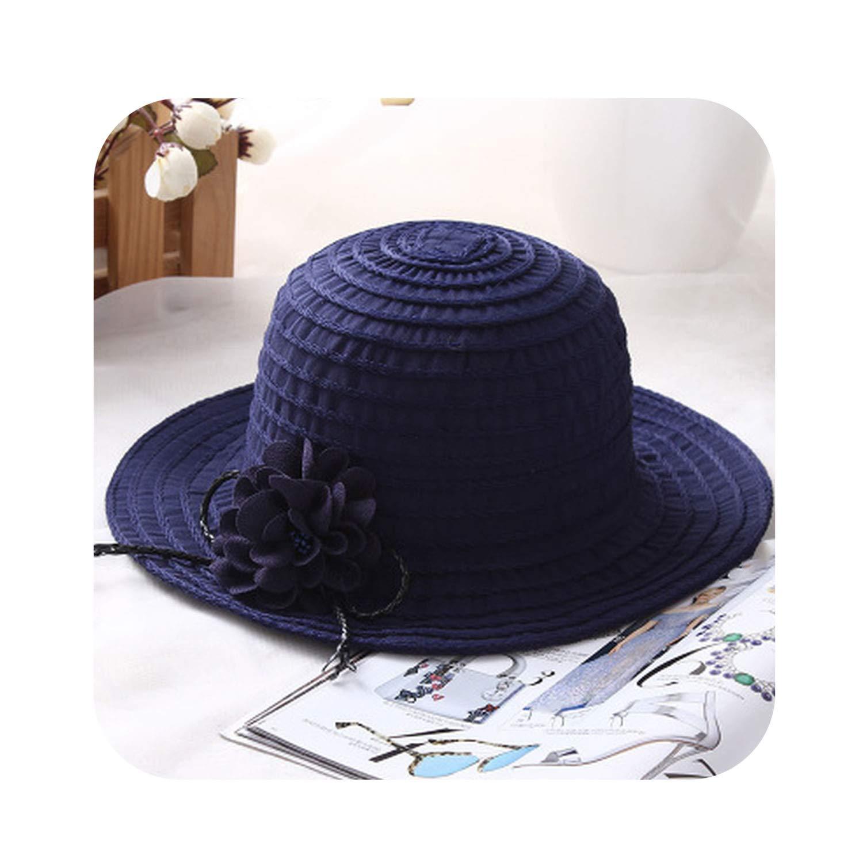 Navy Summer Large Brim Floppy Sun Hat for Women pink Flower Straw Beach,