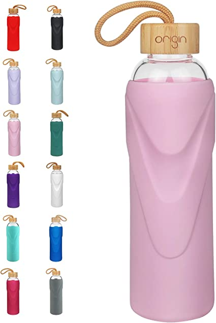ORIGIN Narrow Mouth Glass Water Bottle with Protective Silicone Sleeve