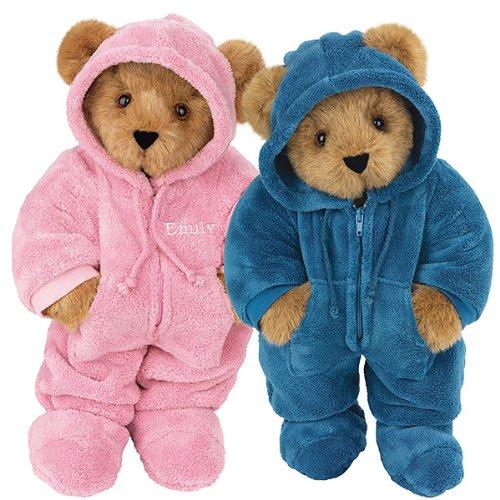 Vermont 15 inch, Pink & Blue Hoodie-Footie Teddy Bear Gif...