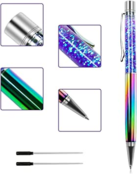 With FREE Refill Free Post! Rainbow Crystal Blue Ballpoint Pens Black Ink