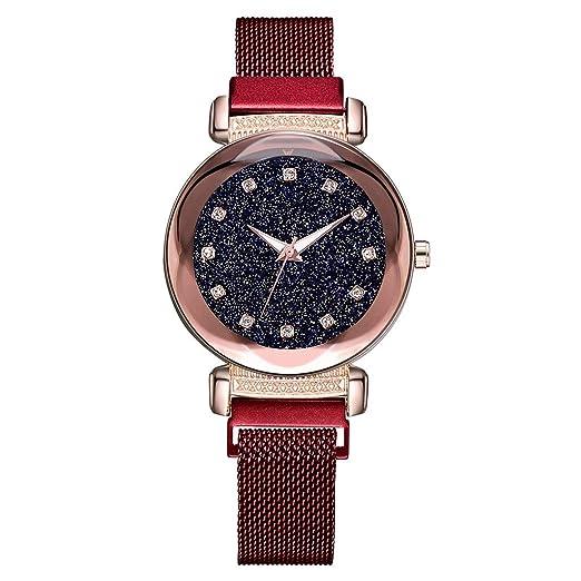 Reloj De Pulsera Casual|Starry Sky Mosaic Diamond Quartz Belt Magnetic Buckle - Reloj para Dama (Rojo): Amazon.es: Relojes