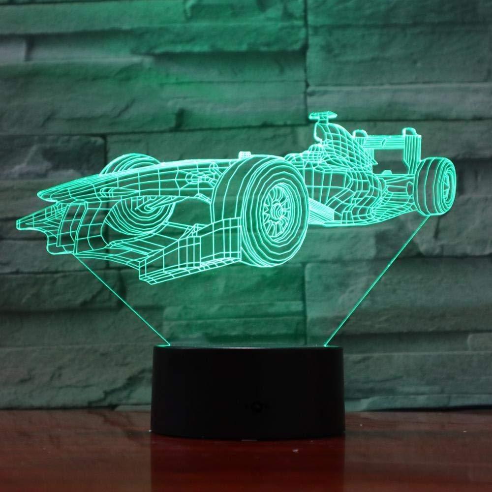 Luces Nocturnas L/ámpara 3D F1 Racing Car Regalo Encantador Para Ambiente Adolescente Cambio De Color Con Decoraci/ón De La Habitaci/ón L/ámpara De Luz Nocturna Led