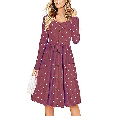 134f4471c778 Naokenu Women Short Sleeve Swing Dress with Pockets Casual Loose T-Shirt  Dress at Amazon Women's Clothing store: