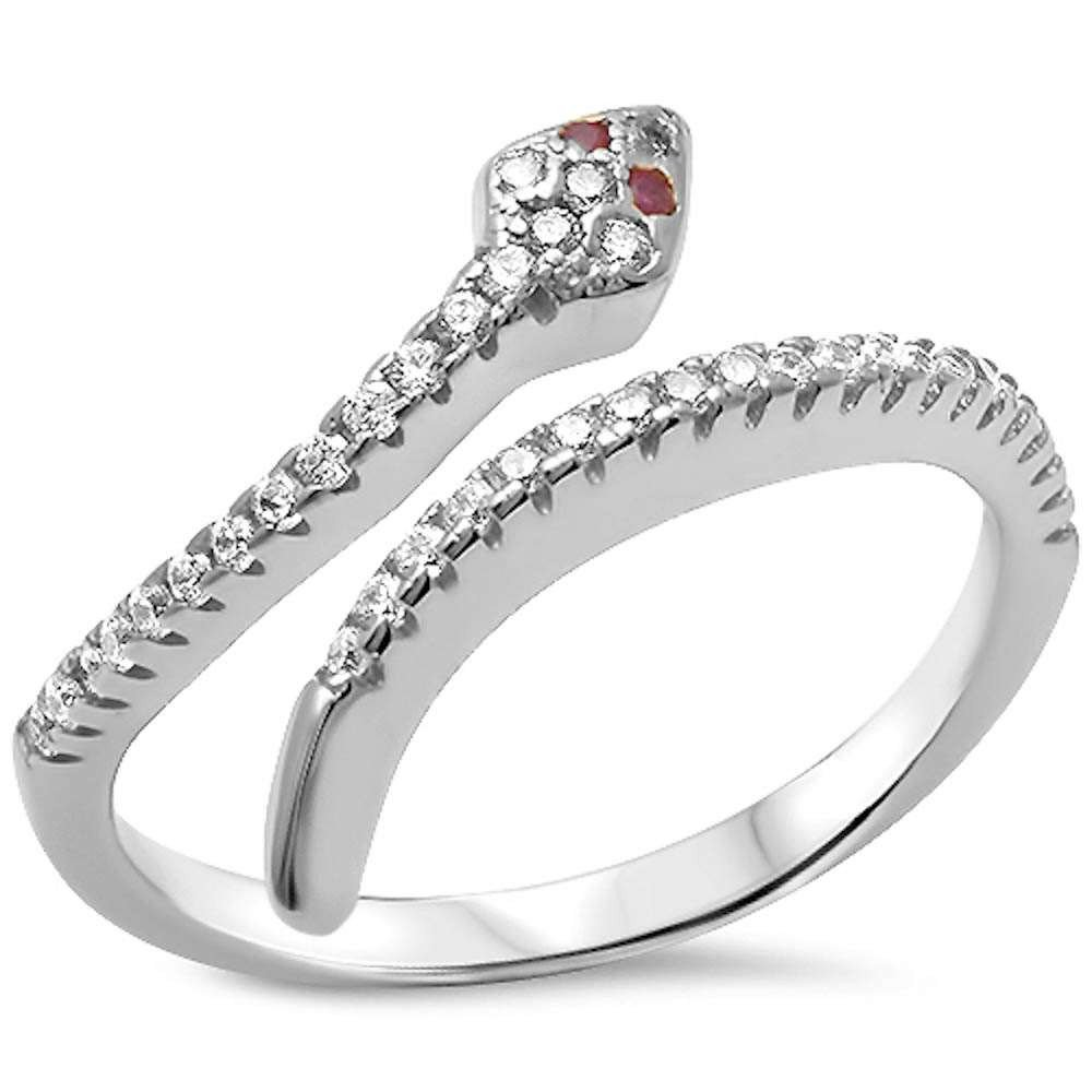 CHOOSE YOUR COLOR Sterling Silver Cubic Zirconia Serpent Snake Ring 15MM (Size 5 - 10) (sterling-silver, 10)