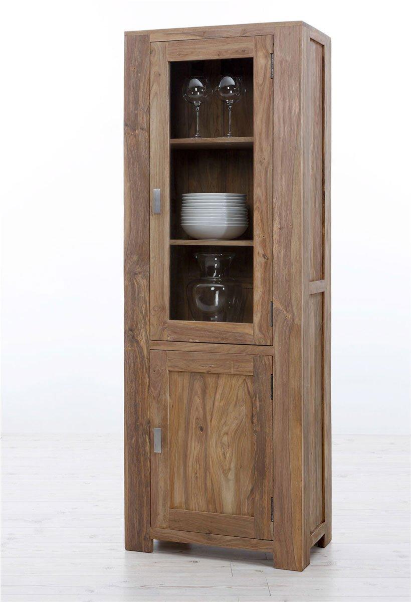 SAM® Kleine Glasvitrine Palisander Sheesham Vollholz 178 cm 1 Glastür 1 Holztür Metallgriffe NA-04 montiert Auslieferung durch Spedition