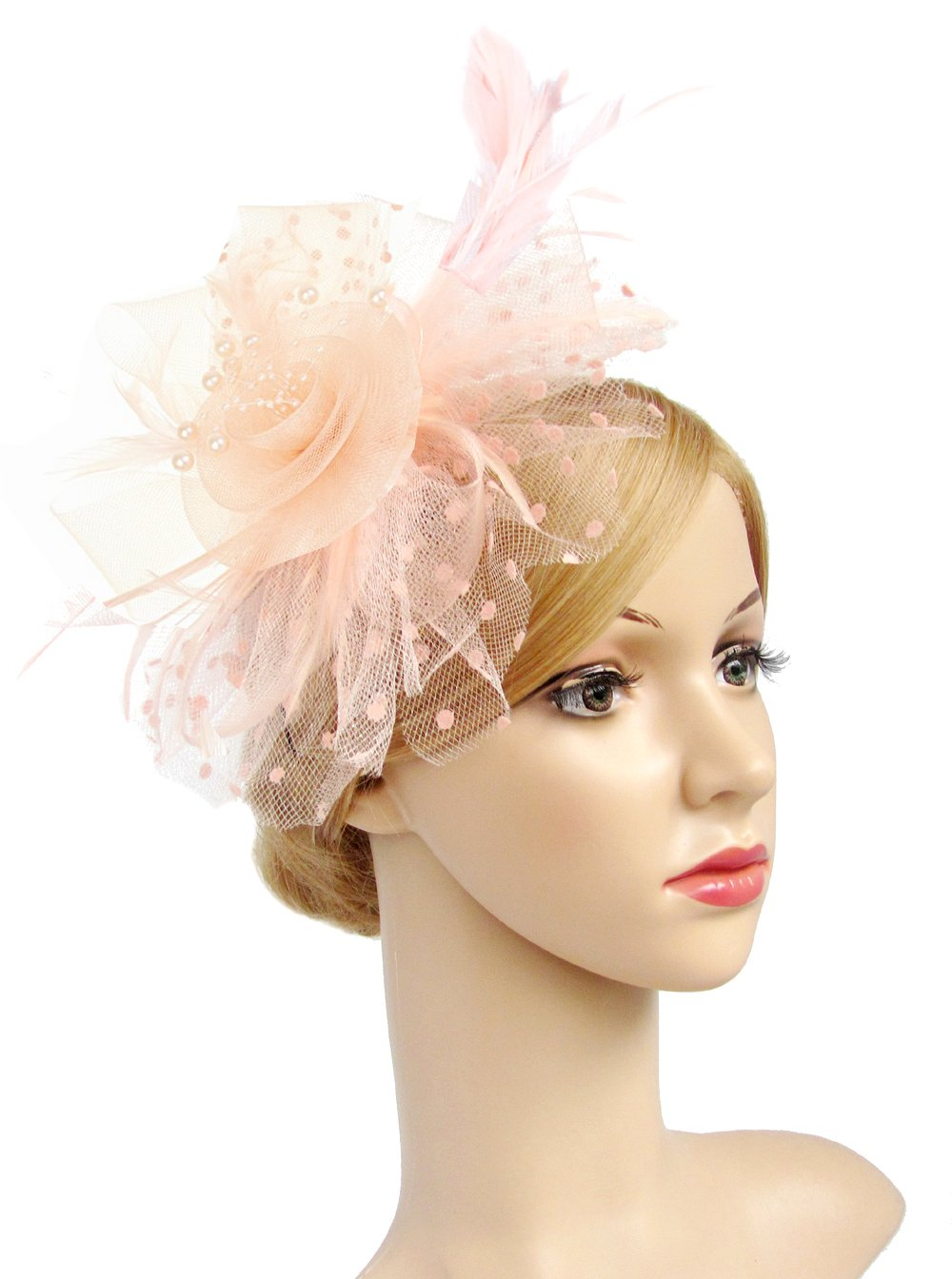Flower Cocktail Tea Party Headwear Feather Fascinators Top Hat for Girls and Women (Champagne)