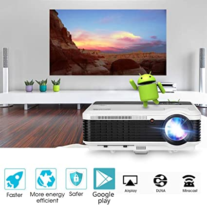 Bluetooth WiFi HDMI Projector 4600 Lumen Wireless 1080P Home Theater Cinema 2019 Android 6.0 LCD LED Multimedia Smart Video Proyector for USB Driver ...