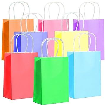 German Trendseller® - 6 x bolsas de papel kraft ┃con asa┃diferentes colores┃fiestas infantiles┃ idea de regalo┃cumpleaños de niños┃ 6 unidades