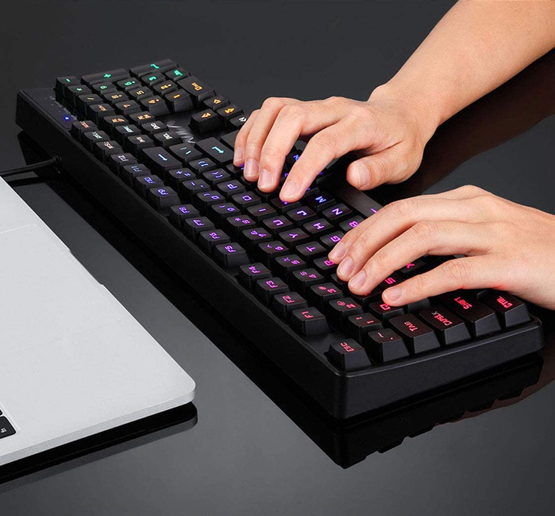Color : Blue Light, Size : 43.8x13cm Universal Keyboard USB External Peripheral Waterproof Lighting Mechanical Feel Game Full Sized Multimedia Buttons