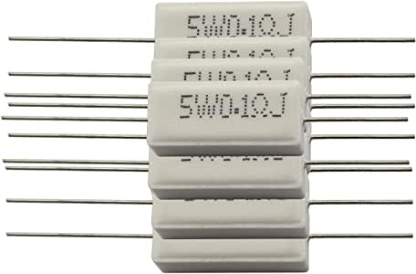 Youliang 2pcs Cement Resistors 20W Horizontal Ceramic Wirewound Resistors Inductionless Cement Resistor