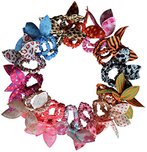 ZaoProteks ZP1302 28 Pcs Rabbit Ear Elastic Hair Ties for Girls and Women (28 Colors A)