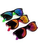 New Fashion Retro 2 Tone Vintage Sunglasses Mirror Lens 3 Pack OWL tm