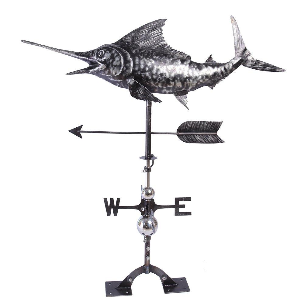 IORMAN Original Handforced 3D Sword Fish Weathervane Directions Symbol for Farmhouse Barn Rustic Outdoor Garden