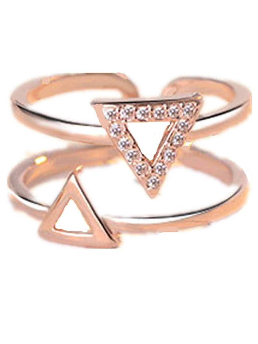 Femme Bague Réglable Simplicité du Style Argent 925 Des Lignes Double anneau d'ouverture triangulaire Anneau de la Queue-Rose Or Summens KKJ48XS-Gold f
