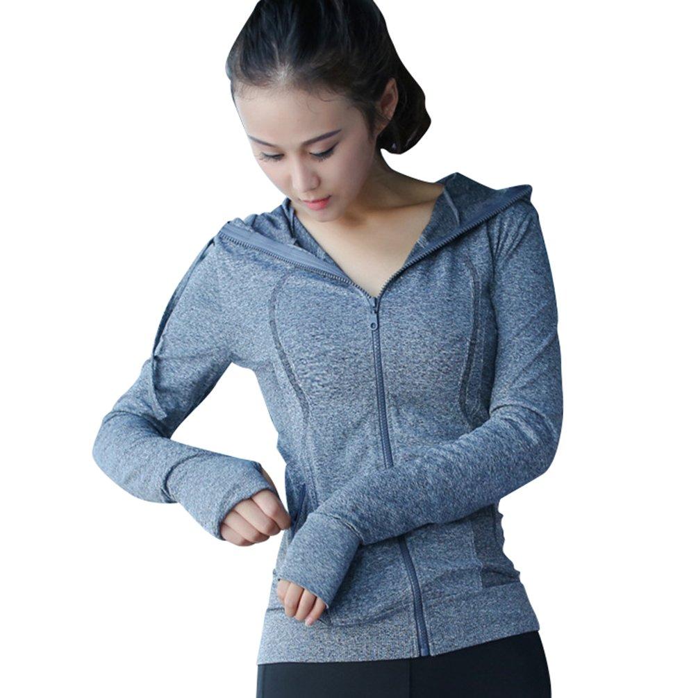 Sentao Donna Asciugatura Veloce Gym Sport Yoga Giacca con Cappuccio Sportiva Manica Lunga Fitness Running Top