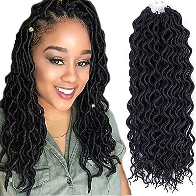 (6Packs)16inch Curly Faux Locs Soft Hair Twist Braids Crochet Braiding Hair Braids Mambo Hair Extension 24Roots/Pack