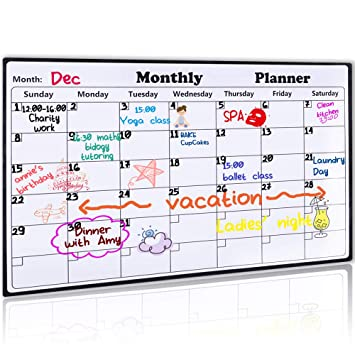 amazon magnetic dry erase calendar for冷蔵庫16 9 x 11 8 2018