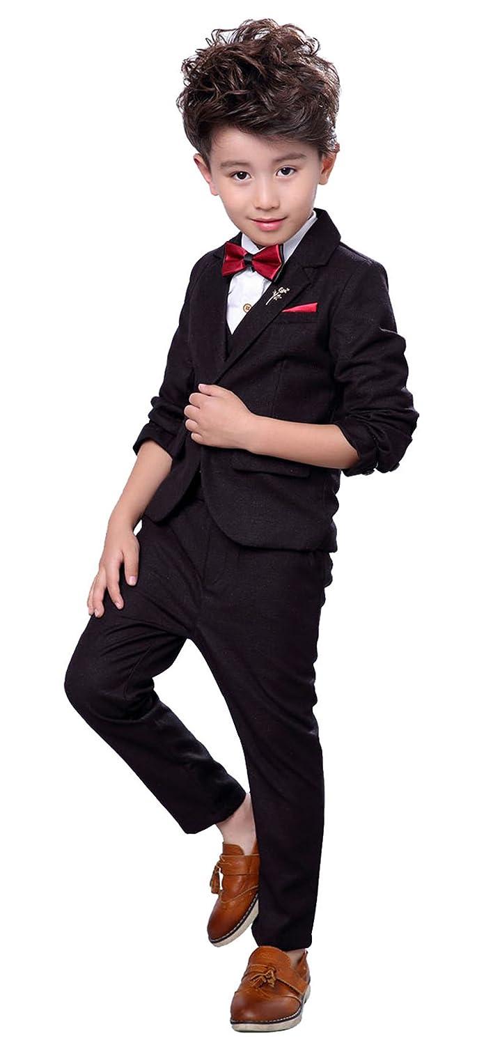 Fengchengjize Boys 3Pcs Modern Fit Suit Solid Dress Suit Jacket Vest Pants 3T-10