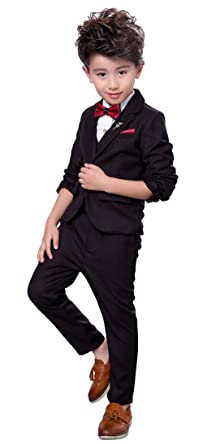 e871a8abd Amazon.com  Fengchengjize Boys 3Pcs Modern Fit Suit Solid Dress Suit ...