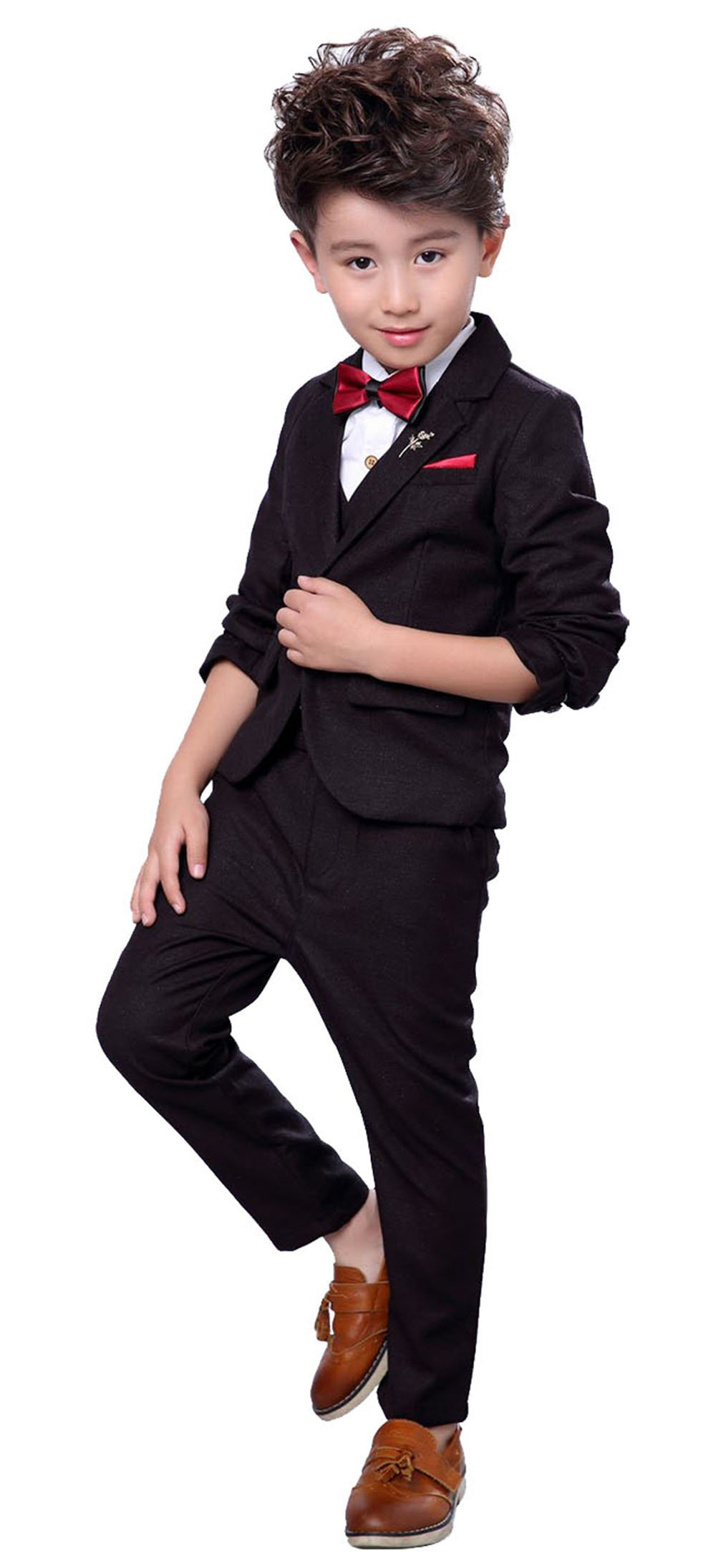 Boys Prom Suit 3 Pieces Plaid Suit Set for Wedding Party Shows Cute Tuxedo Suits Jacket Waistcoat Pants Black 3T