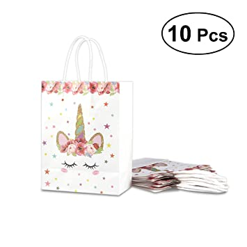 LUOEM 10 Pcs Unicorn Paper Treat Bags Unicorn Pattern Paper Candy Bags Party Favor Bags Gift