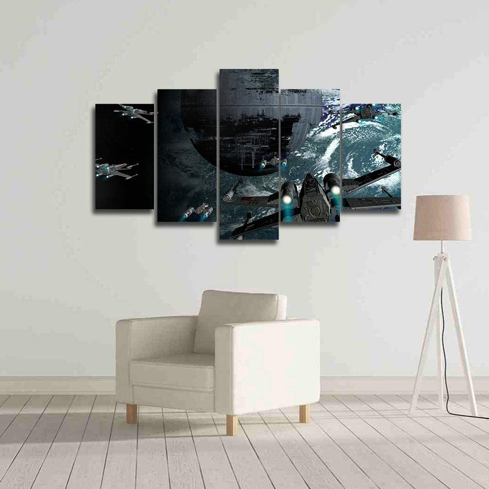 Guerra de la Estrella de la Muerte Cuadros Modernos Impresión de Imagen Artística Digitalizada,para Salon,Dormitorio,Baño,Comedor 5 Piezas 200x100cm