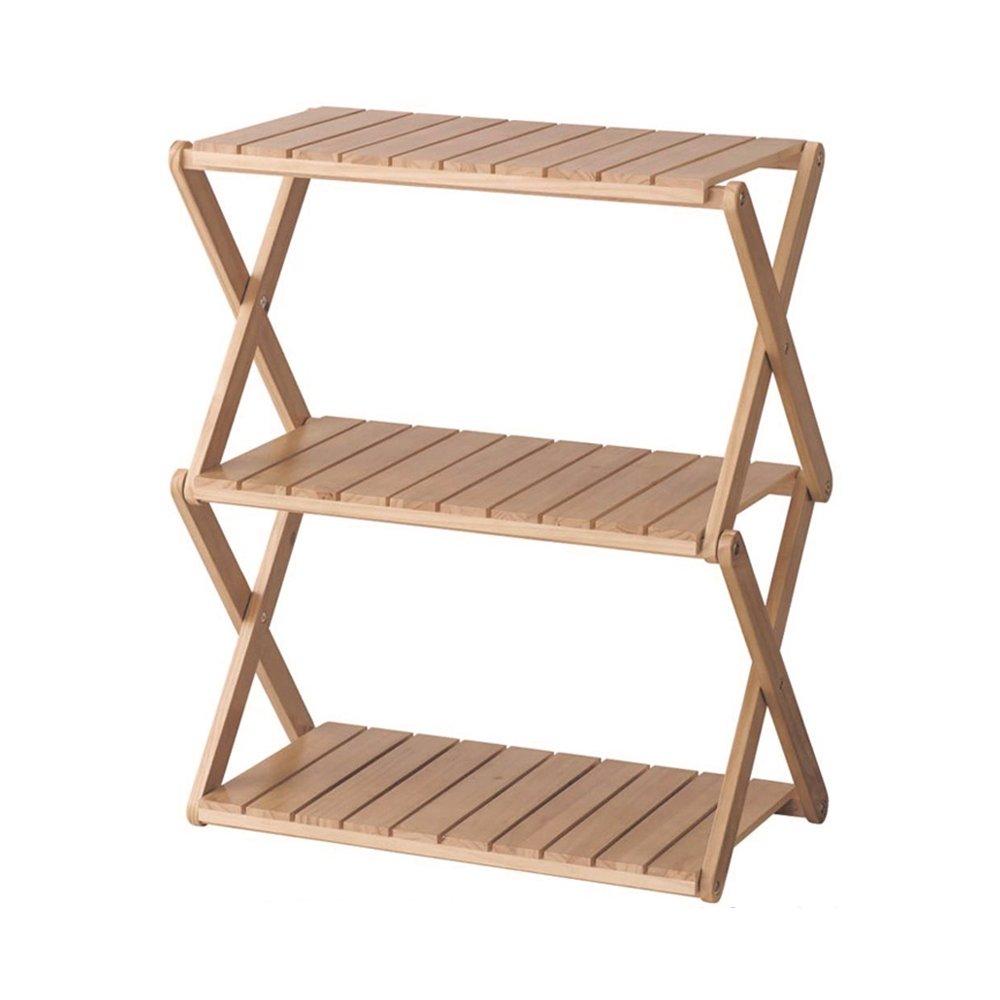 YANFEI 木製靴ラック多機能3層折り畳み式ストレージラック本棚オーガナイザーフラワースタンド58.5 * 32 * 72CM (色 : Brown) B07FBJQSGYBrown