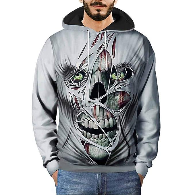 Ydncmgga Skull Print Sudadera con Capucha 3D Hombre Tallas Grandes Sudaderas de Bolsillo: Amazon.es: Ropa y accesorios