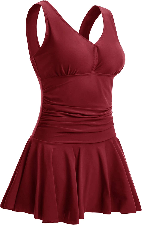 Summer Mae Damen Badekleid Plus Size Gebl/ümt Figurformender Einteiler Badeanzug Swimsuit