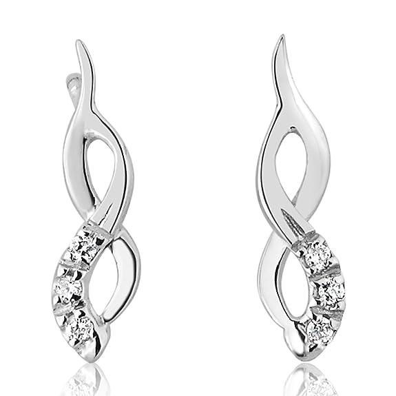 Pendientes para Mujer - Oro Blanco 9 Quilates 375/1000 - Diamantes 0.05 Quilateshttps://amzn.to/2MmnU9M