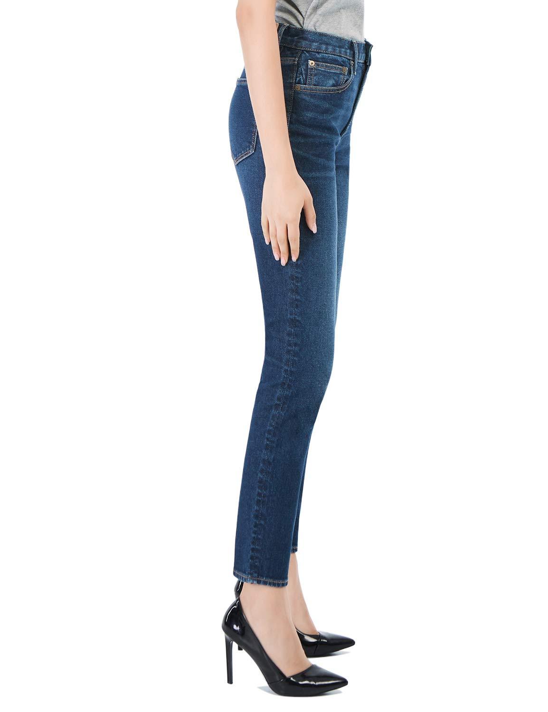 D-ID Women's Tapered Jeans Firm High Waisted Boyfriend ...