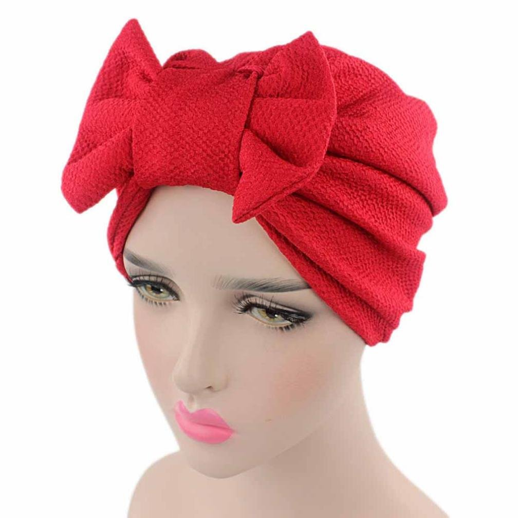 QingFan Women Solid Bow Pre Tied Cancer Chemo Hat Beanie Turban Stretch Head Wrap Cap