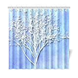 dark grey curtains asda QYUESHANG Home Decor Bath Curtain Tree Blue White Nature Winter Design Card Polyester Fabric Waterproof Shower Curtain For Bathroom, 72 X 72 Inch Shower Curtains Hooks Included