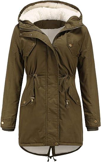 Women Warm Jacket With Faux Fur Hood Casual Winter Sherpa Lined Parka Coats Drawstring Waist Outwear