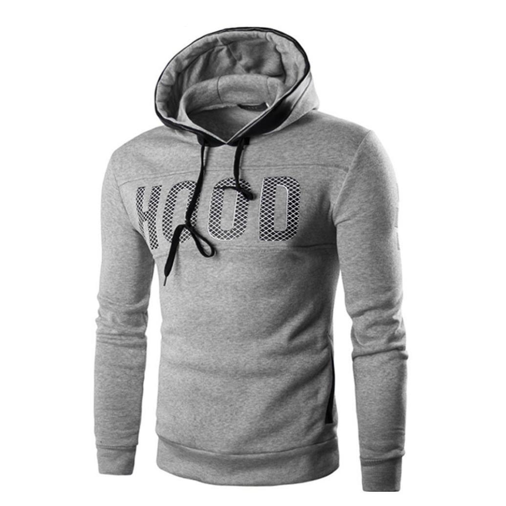 Felpa a manica lunga da uomo, ASHOP Hooded Sweatshirt Pullover, Felpa da Uomo Invernale Slim Felpa Pullover Caldo Felpa con Cappuccio ASHOP - FU022
