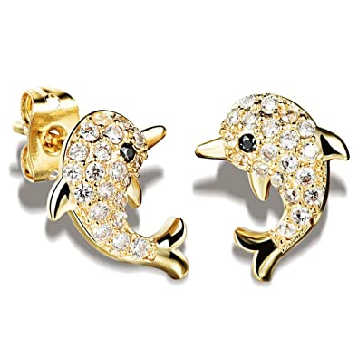46e0076180dc2 Amazon.com: Mymate Dolphin Stud Earrings for Women and Girl Cute ...