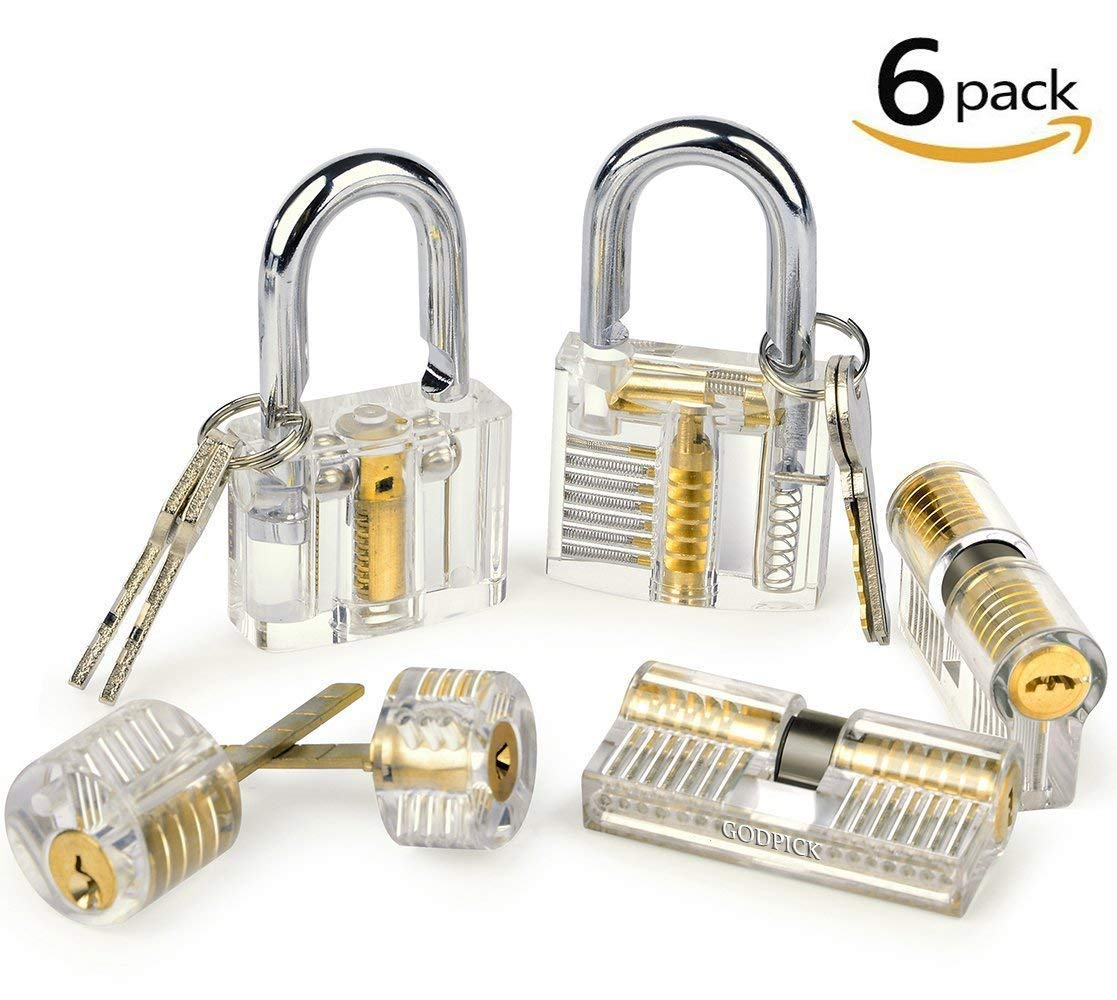 Godpick 17-Piece Lock Pick Set with 6 Clear Practice and Training Locks for Lock