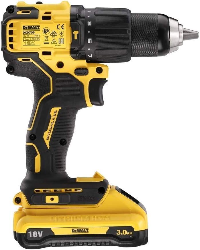 DeWalt DCD709L2T-QW DCD709L2T-QW-Taladro Percutor sin escobillas XR 18V 13mm 65Nm con 2 bater/ías Li-Ion 3,0Ah y malet/ín TSTAK 18 V