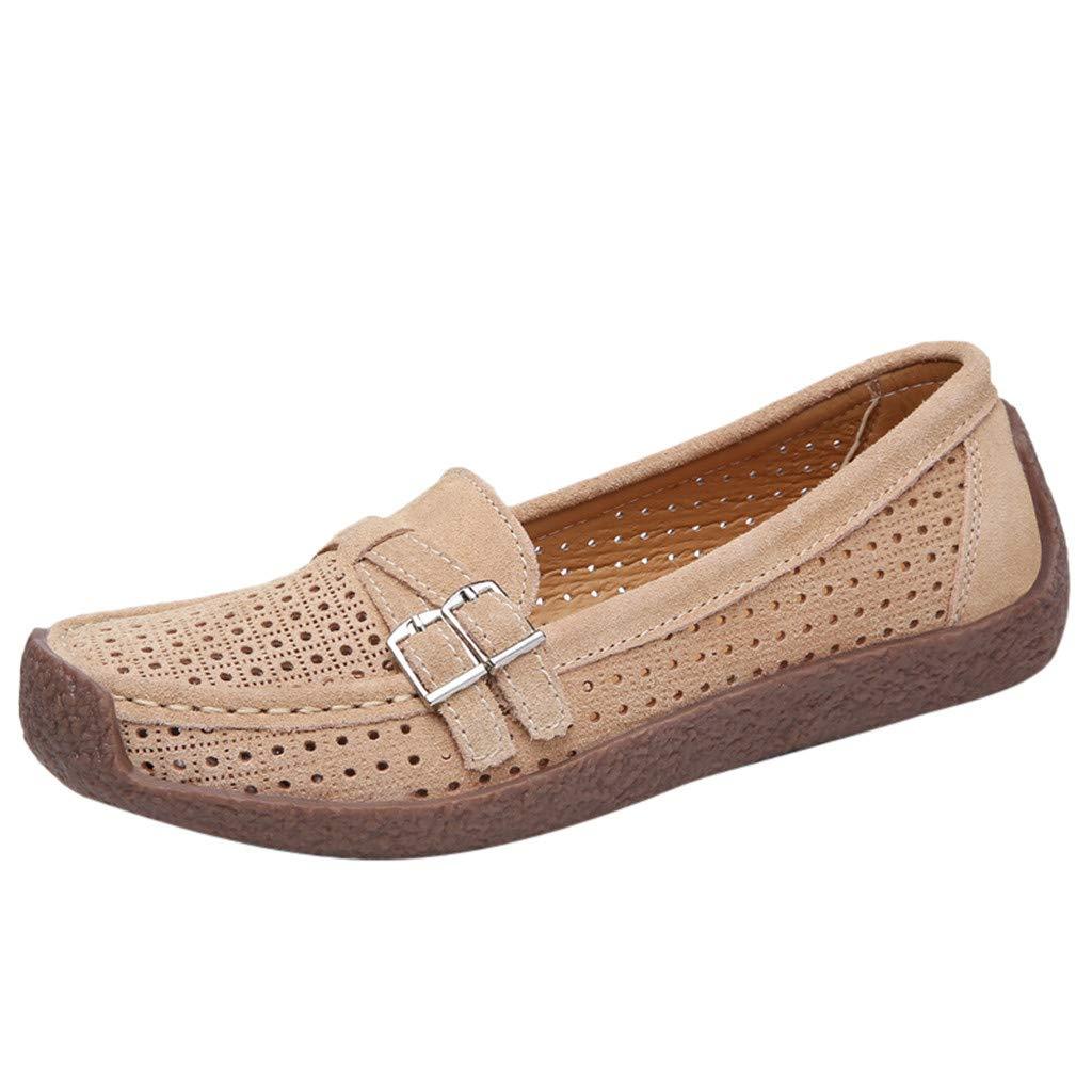 SSYongxia❤ Women's Lightweight Casual Shoes - Hollow Walking Mocassin Driving Boat Shoe Slip-on Shoes Beige